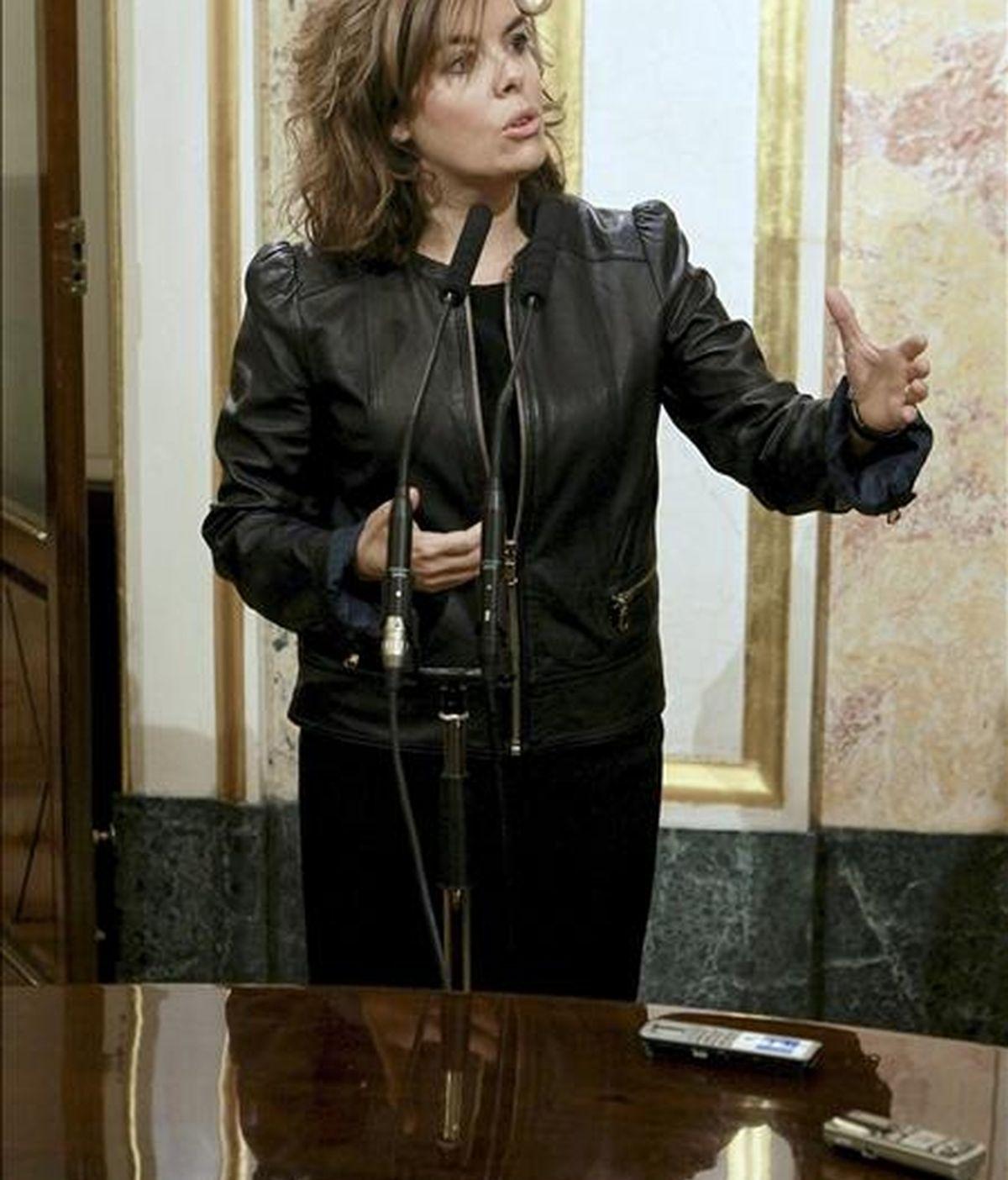 La portavoz del grupo del PP en el Congreso, Soraya Sáenz de Santamaría. EFE/Archivo