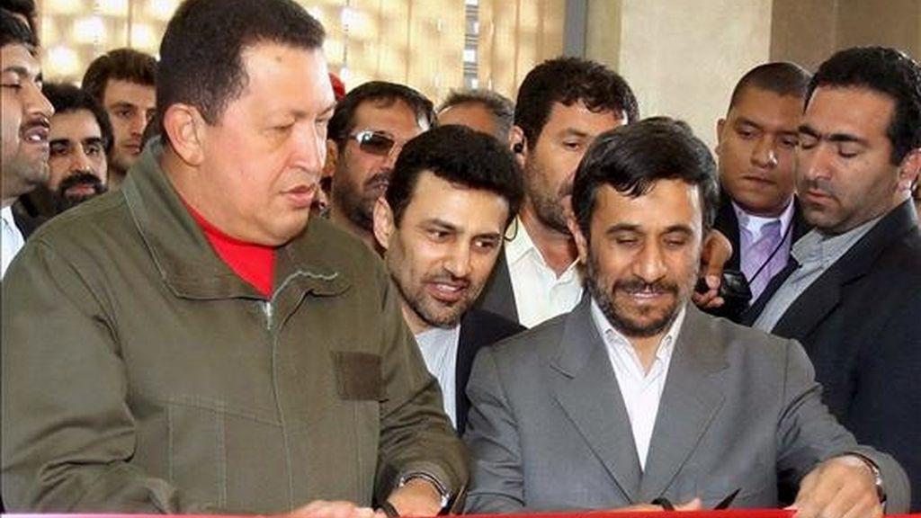 """El presidente iraní, Mahmud Ahmadinejad (d), y su homólogo venezolano, Hugo Chávez (i), inauguran el Banco Venezolano-Iraní en Teherán, Irán, hoy, viernes 3 de abril. Esta entidad, de la que Chávez asegura: """"aspiramos se convierta más adelante en el Banco Internacional del Petróleo"""", tendrá un capital inicial de 1.600 millones de dólares. EFE"""
