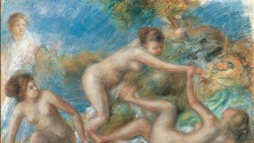 """""""Bañistas desnudas jugando con un cangrejo, de Pierre-Auguste Renoir, una de las obras que se puede ver en la muestra """"Desde Rafael hasta Renoir"""", exposición de dibujos de varios siglos de la historia del arte europeo que podrá verse en las National Galleries of Scotland, de Edimburgo. EFE"""