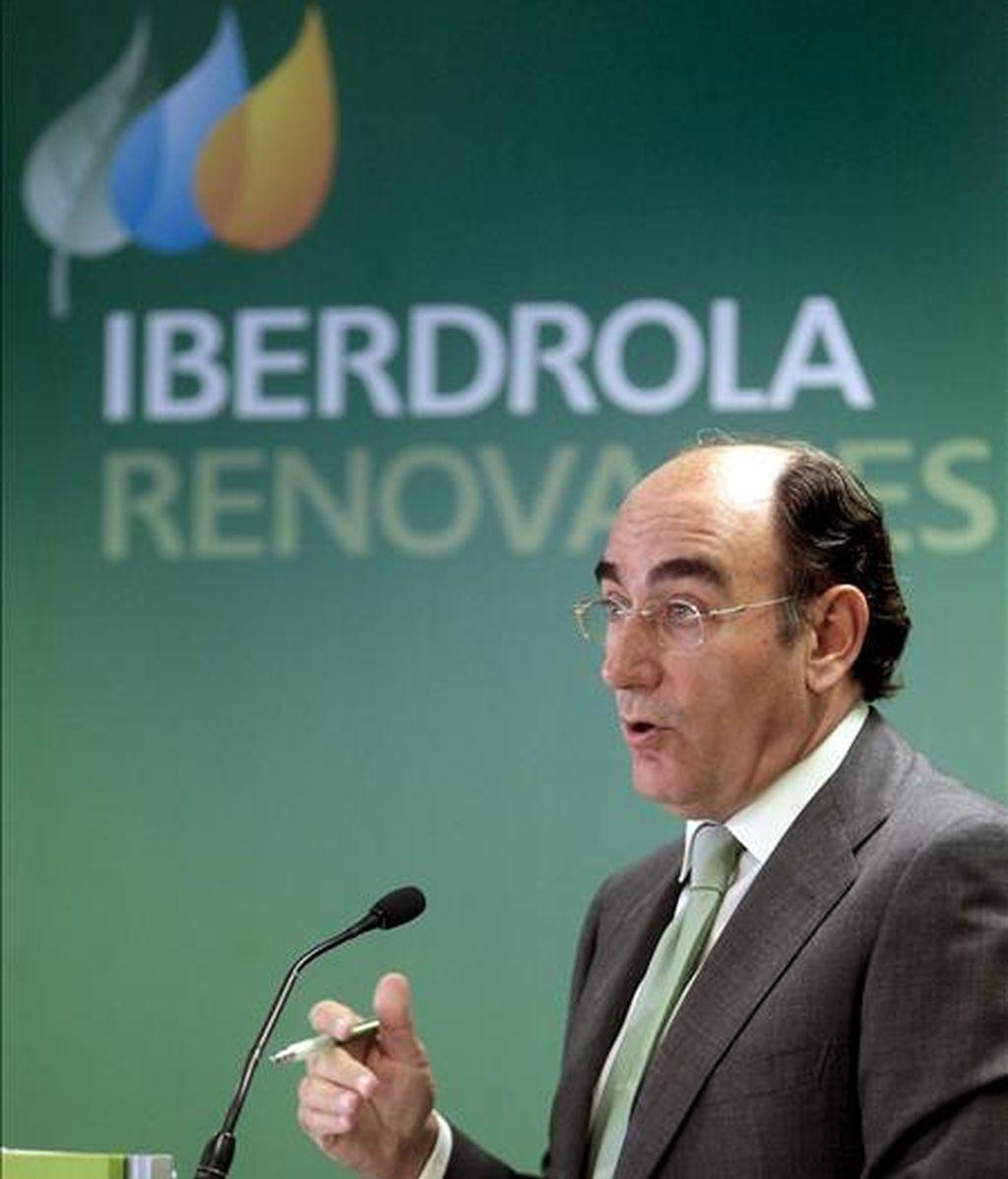 El presidente de Iberdrola, Ignacio Sánchez Galán, durante la rueda de prensa que ofreció hoy, con motivo de la celebración el miércoles de la junta de accionistas de la compañía. EFE
