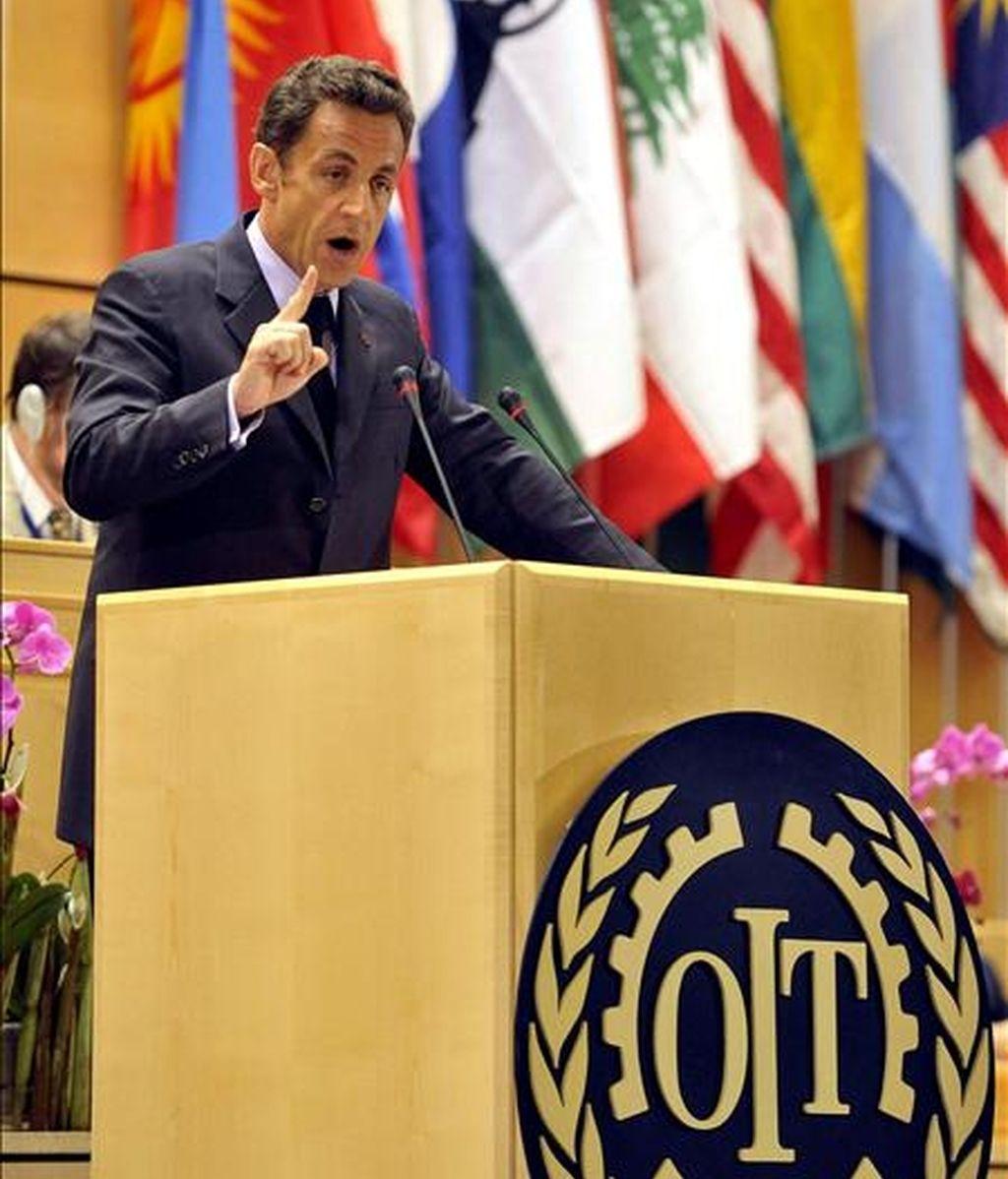 El presidente de Francia, Nicolás Sarkozy, durante su intervención en la 98º Cumbre Mundial del Empleo que se está celebrando en Ginebra, Suiza. EFE