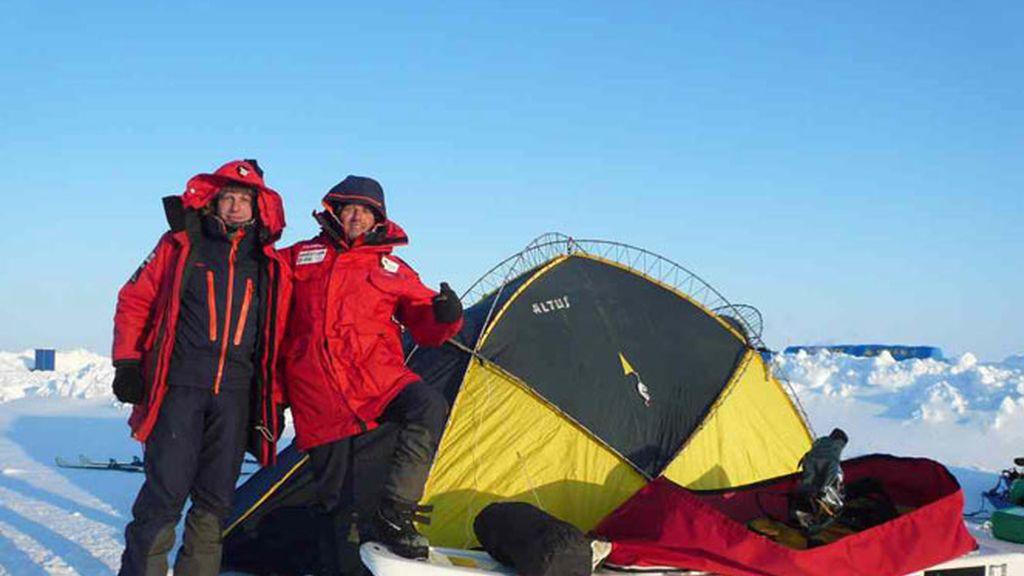 La tienda de campaña en pleno Polo Norte