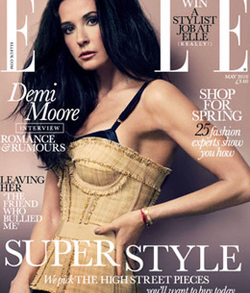 Demi Moore luce su espléndida figura a los 47 años en el último número de la revista ELLE.