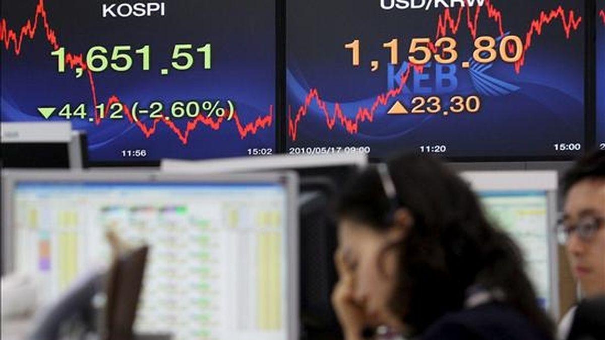 Una pantalla muestra el índice Kospi en la Bolsa de Seúl (Corea del Sur). EFE/Archivo