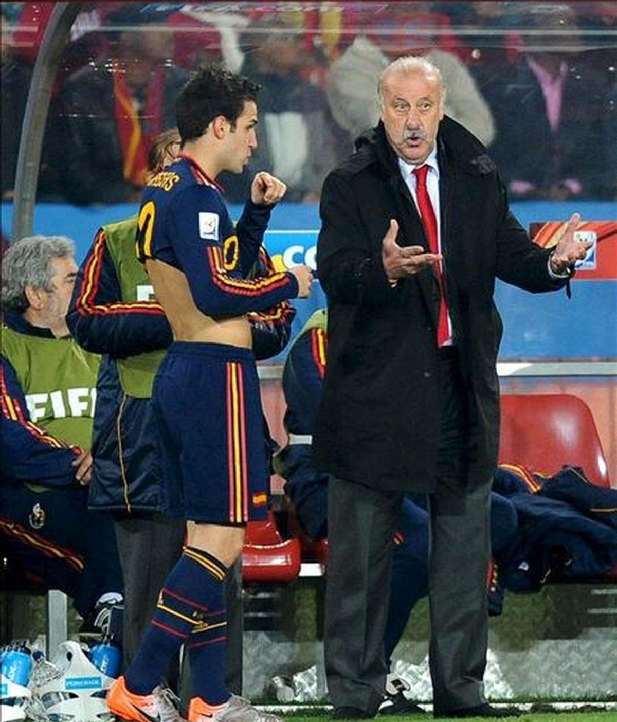 El seleccionador español Vicente del Bosque (d) da instrucciones al jugador Cesc Fabregas durante el partido Paraguay-España, de cuartos de final del Mundial de Fútbol de Sudáfrica 2010, hoy en el estadio Ellis Park de Johannesburgo, Sudáfrica. EFE