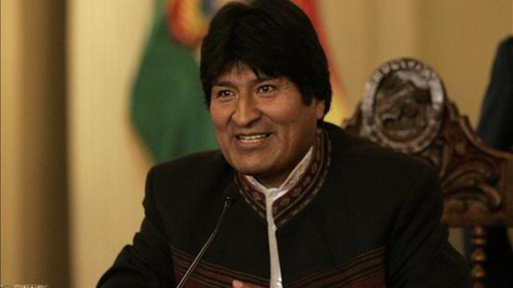 """El mandatario boliviano ha rechazado siempre cualquier posibilidad de negociar acuerdos de libre comercio con Estados Unidos y la Unión Europea, al considerar que no son beneficiosos para un """"comercio justo"""". EFE"""
