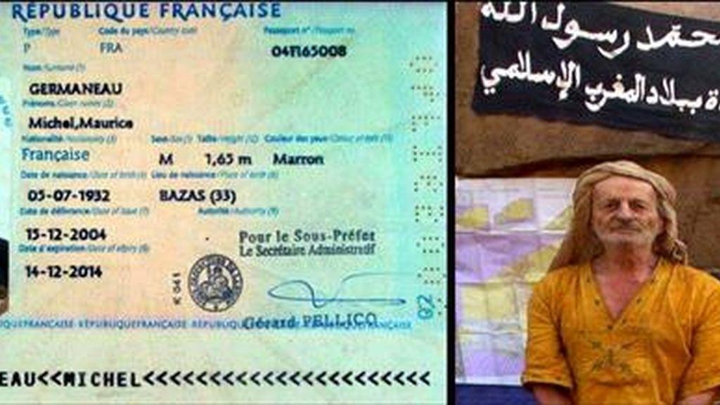 """Foto facilitada meses atrás por Al Qaeda en el Magreb Islámico del francés Michel Germaneau, así como de su pasaporte. La organización terrorista Al Qaeda en el Magreb Islámico (AQMI) ha anunciado, en una grabación difundida por el canal de televisión """"Al Yazira"""", la """"ejecución"""" del rehén Germaneau, secuestrado el pasado mes de abril en Níger. EFE"""