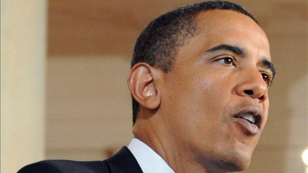 """Obama señaló que la comisión de Naciones Unidas no podrá elaborar un informe """"equilibrado"""" porque Hamás le impedirá investigar las """"acciones terroristas"""" cometidas por militantes palestinos, entre ellas el bombardeo con cohetes de localidades israelíes. EFE"""