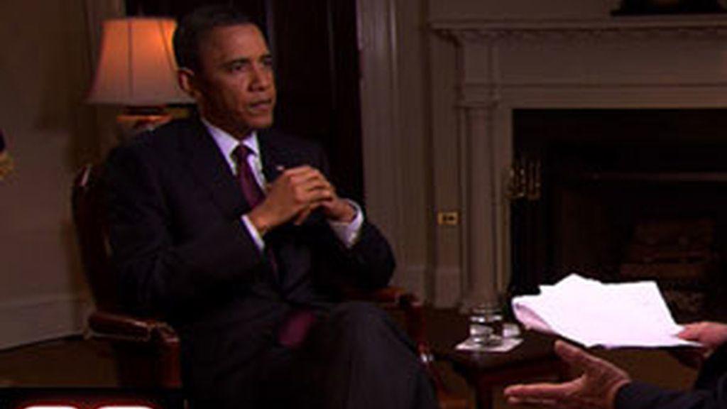 Obama durante la entrevista. Vídeo: Informativos Telecinco.