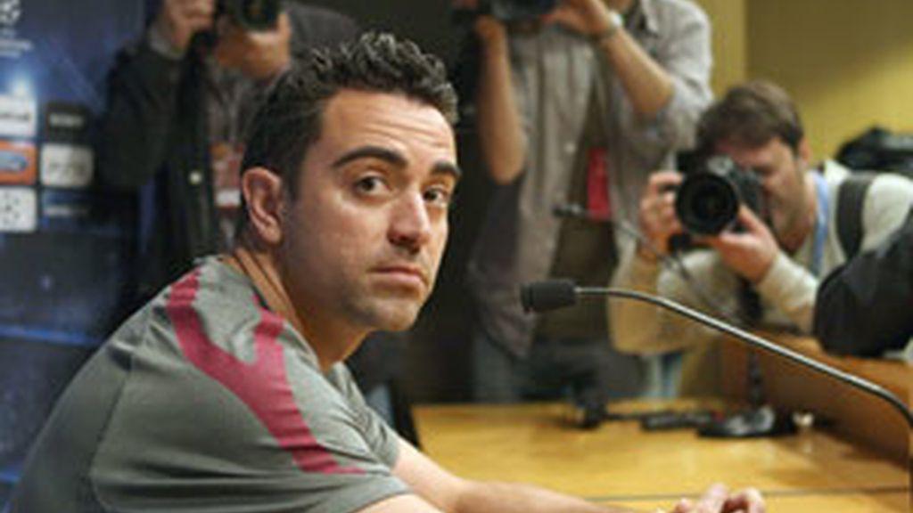Xavi durante una rueda de prensa. Foto: EFE