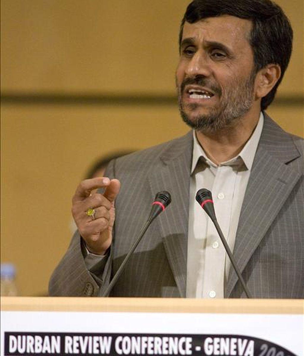 El presidente iraní, Madmoud Ahmadineyad, el pasado lunes en Ginebra. EFE