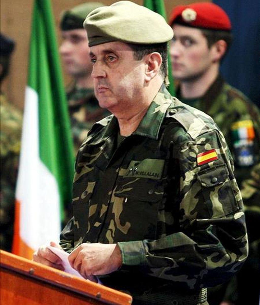 El general Ignacio Martín Villalaín, durante el acto en el que se hizo cargo del mando de la misión europea en Bosnia (EUROFOR). EFE/Archivo