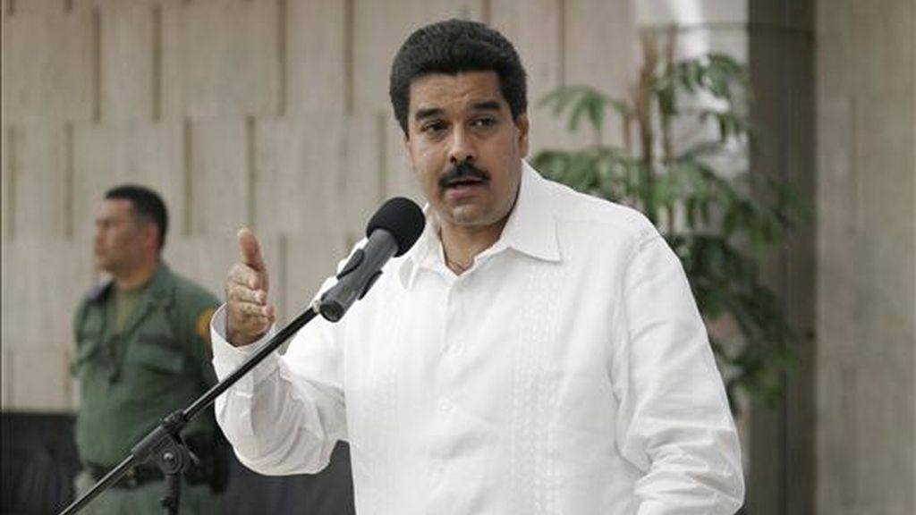 El canciller venezolano, Nicolás Maduro, ofrece una rueda de prensa en el Ministerio de Relaciones, en Caracas. EFE