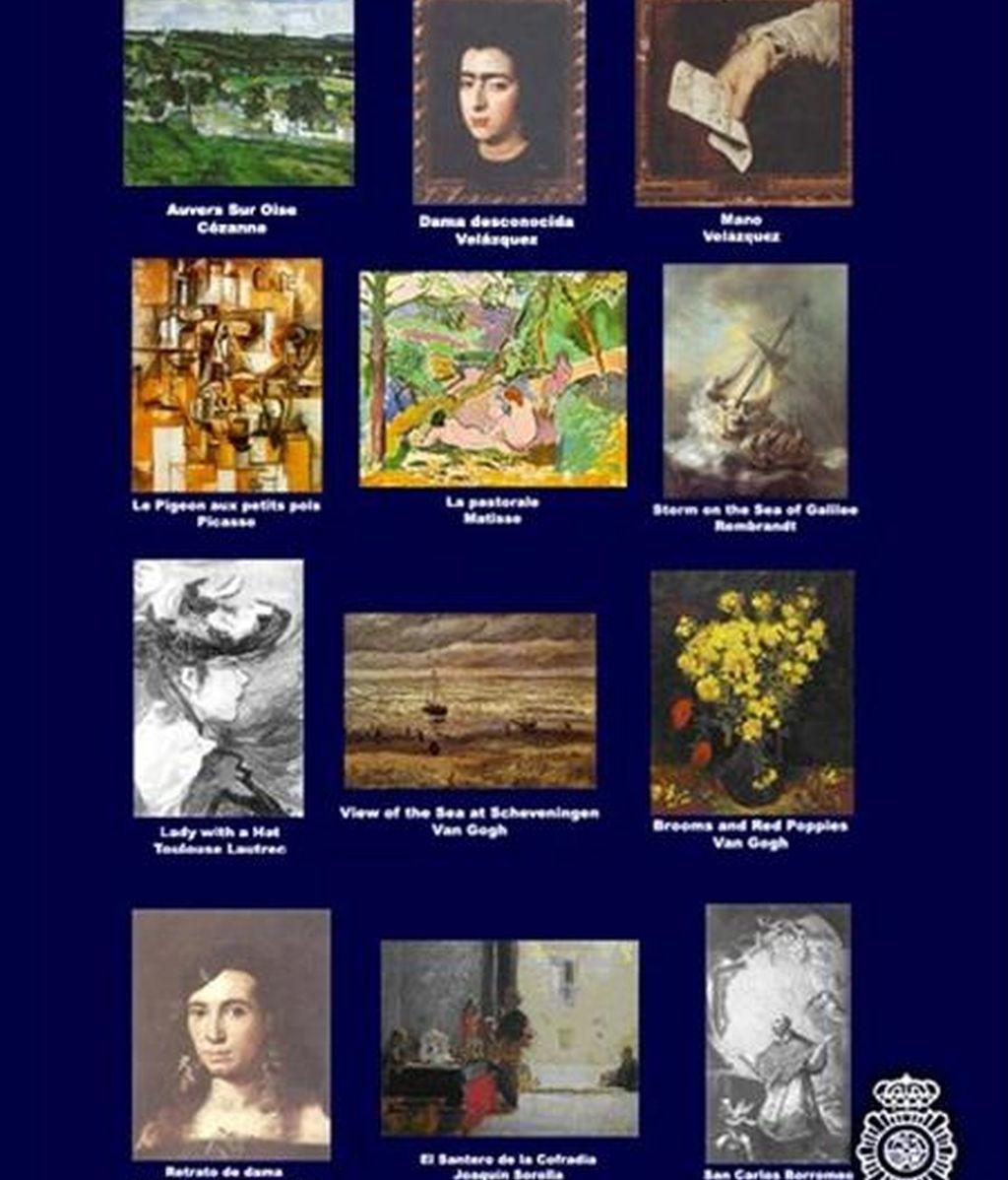 La Policía Nacional ha difundido hoy las imágenes de las obras de arte robadas más buscadas, entre ellas algunas sustraídas hace veinte años y otras con rúbricas tan importantes y reconocidas como las de Picasso, Matisse, Rembrandt, Velázquez, Van Gogh, Cézanne o Sorolla. EFE