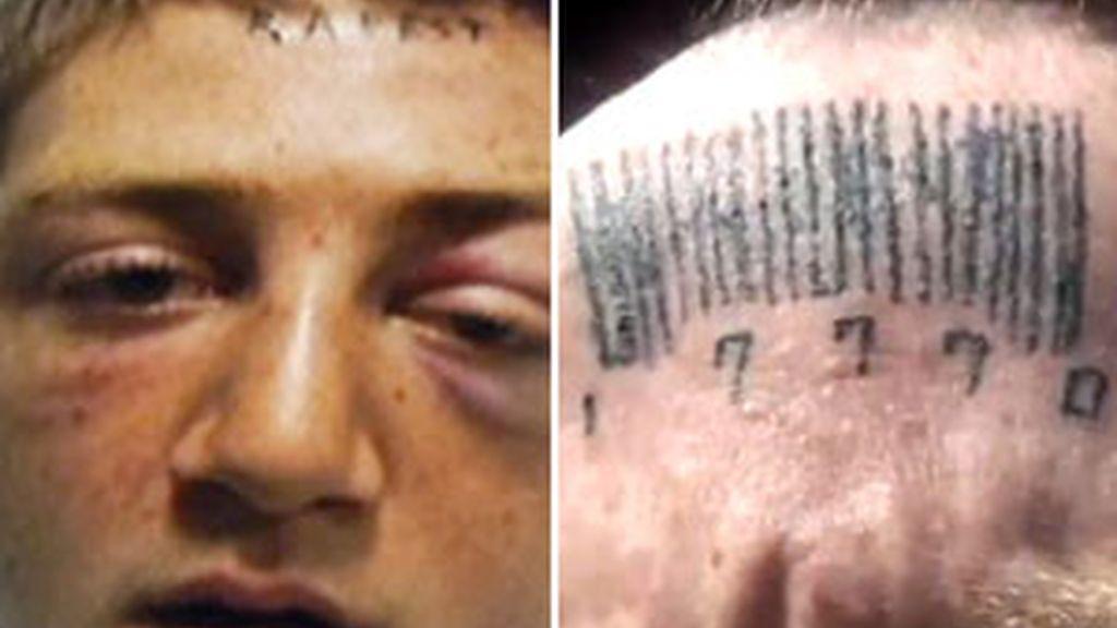 Johnson, con la frente tatuada con la palabra 'violador' y el código de barras que se ha tatuado encima. Foto: The Oklahoman