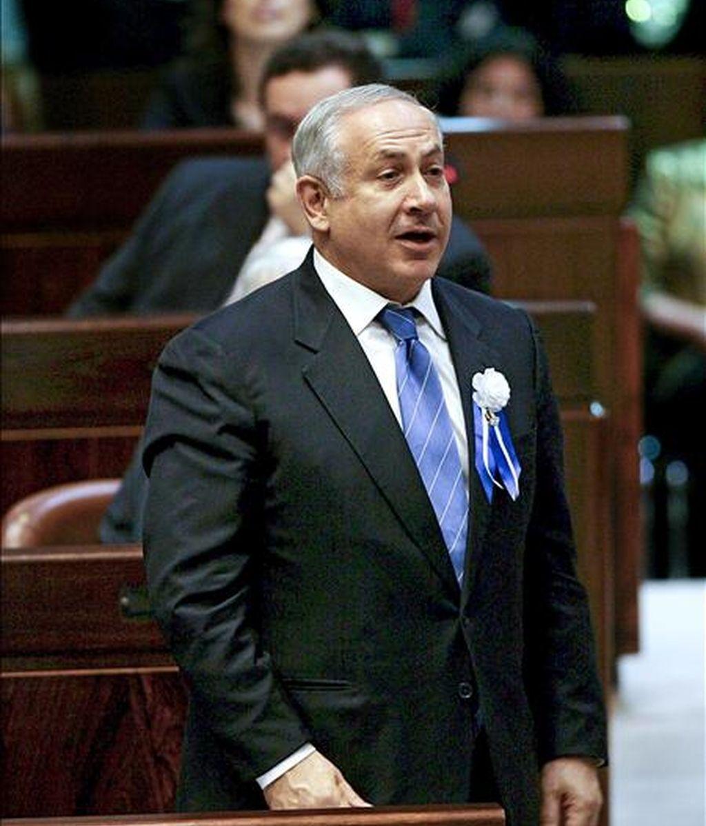 El primer ministro israelí Benjamín Netanyahu, interviene en una sesión de la Kneset, la cámara legislativa de Israel. EFE/Archivo