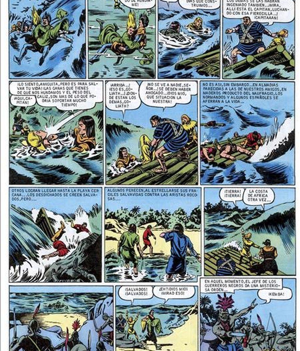 El cómic cobra protagonismo en la Feria del Libro de Madrid. En la imagen, una página del cómic del Capitán Trueno de los dibujantes Víctor Mora y Miguel Ambrosio. EFE/Archivo