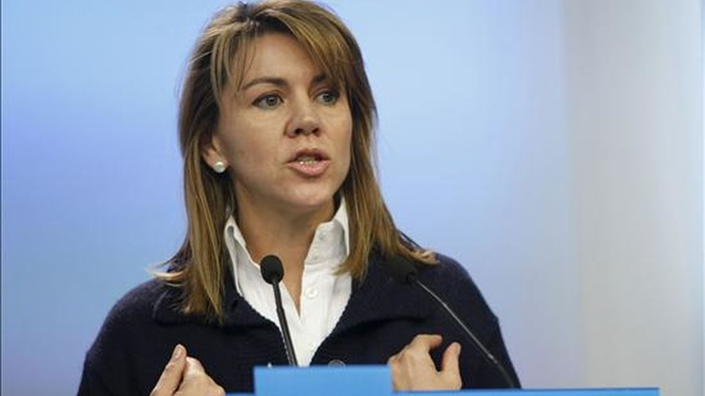 La secretaria general del PP, María Dolores de Cospedal, durante una rueda de prensa en la sede del partido en Madrid. EFE/Archivo