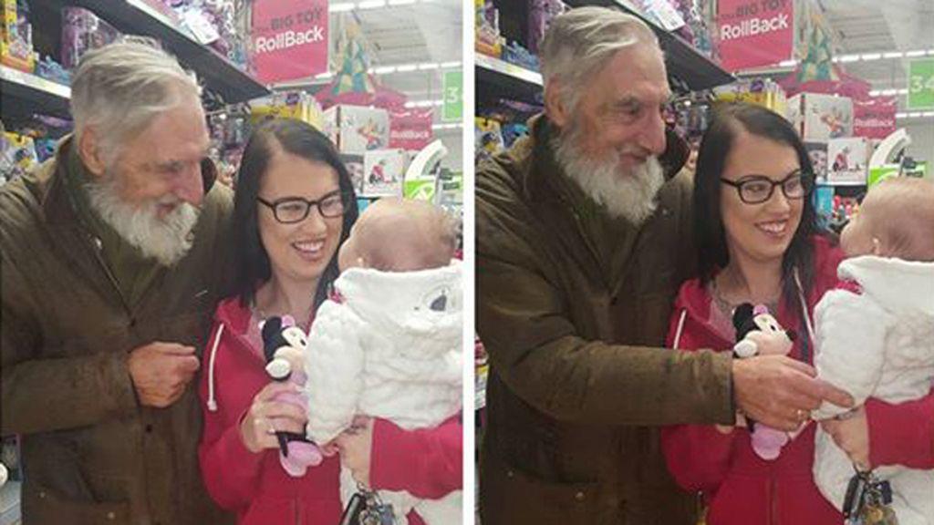 El tierno gesto de amor de un hombre sin familia con un bebé de cuatro meses
