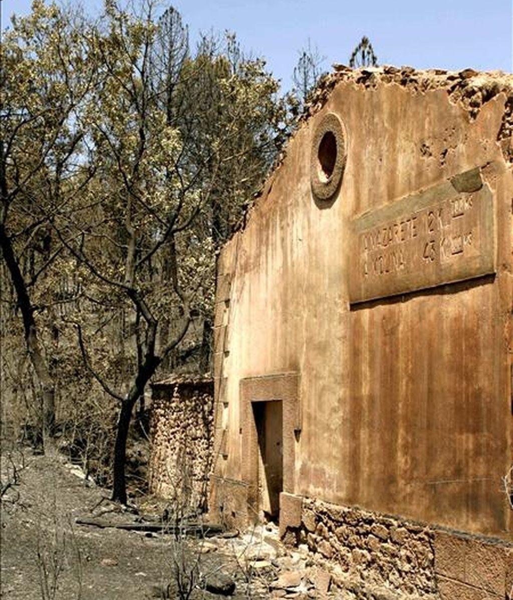 Imagen del estado del Parque Natural del Alto Tajo, lugar donde se originó el incendio que se cobró la vida de los once miembros del retén que fallecieron en las tareas de extinción del fuego en Riba de Saelices. EFE/Archivo