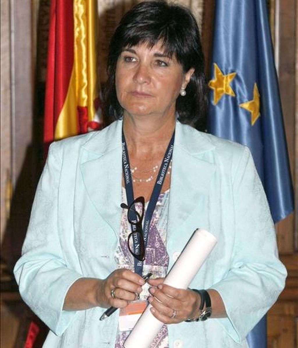 Gloria Pérez-Salmerón, durante su presentación como nueva directora de la Biblioteca Nacional, y cuyo nombramiento se ha producido con el respaldo unánime del Patronato de esta institución. EFE