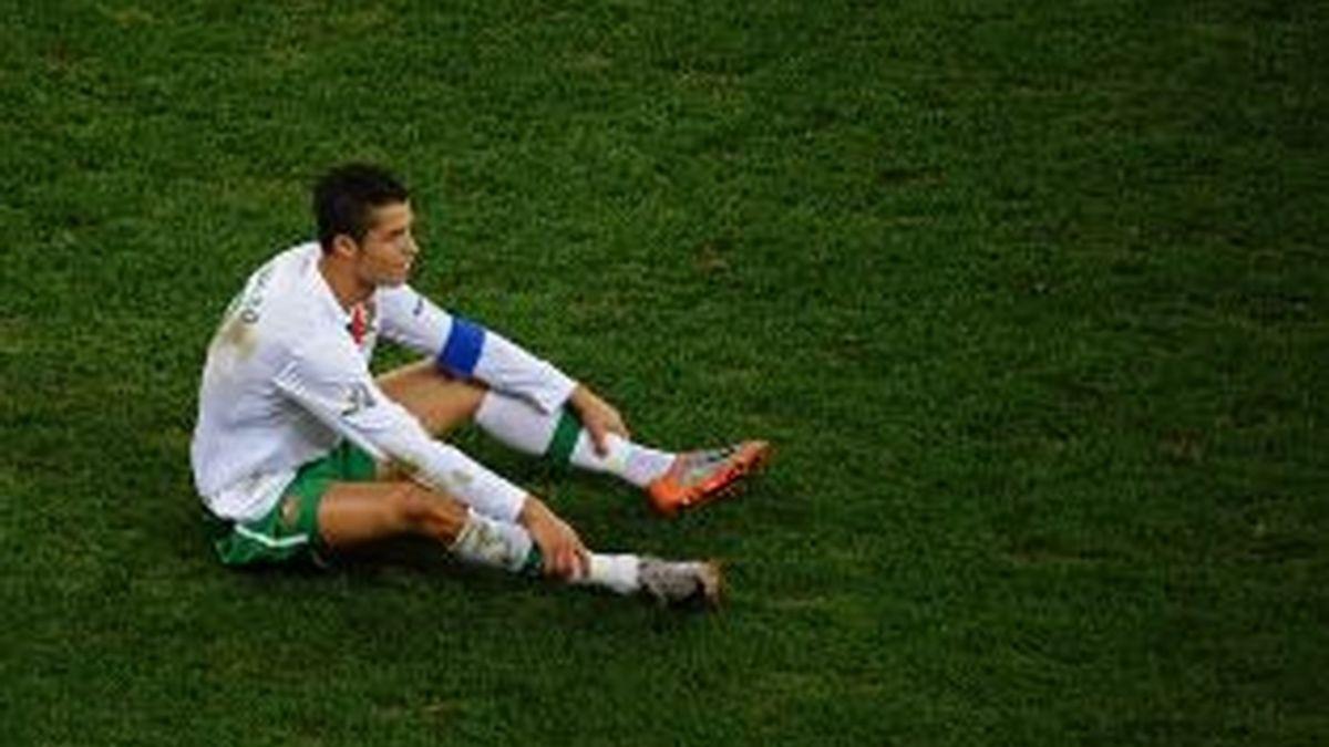 Ronaldo, desolado tras sel eliminado por España. Foto: Getty