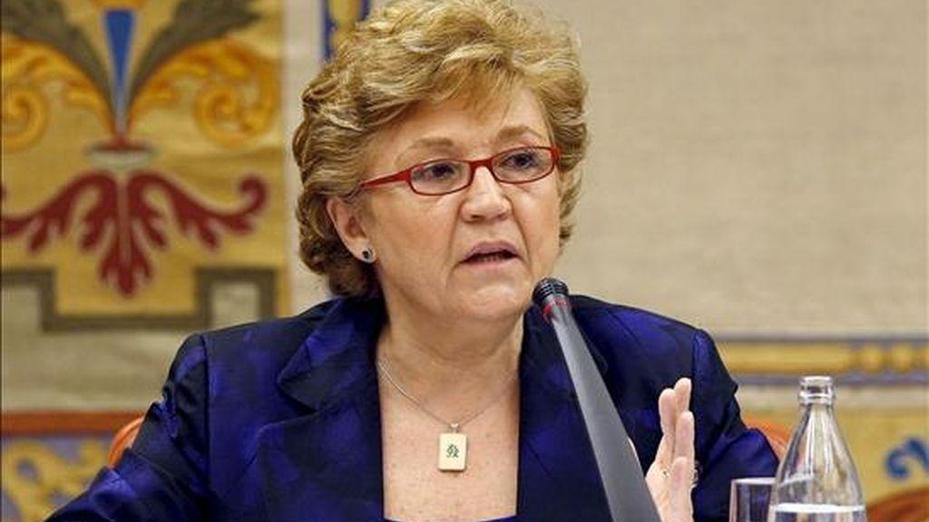 La directora del Instituto Cervantes, Carmen Cafarell, durante su comparecencia hoy en la Comisión de Asuntos Exteriores del Congreso de los Diputados, para tratar las prioridades de este órgano en esta legislatura. EFE