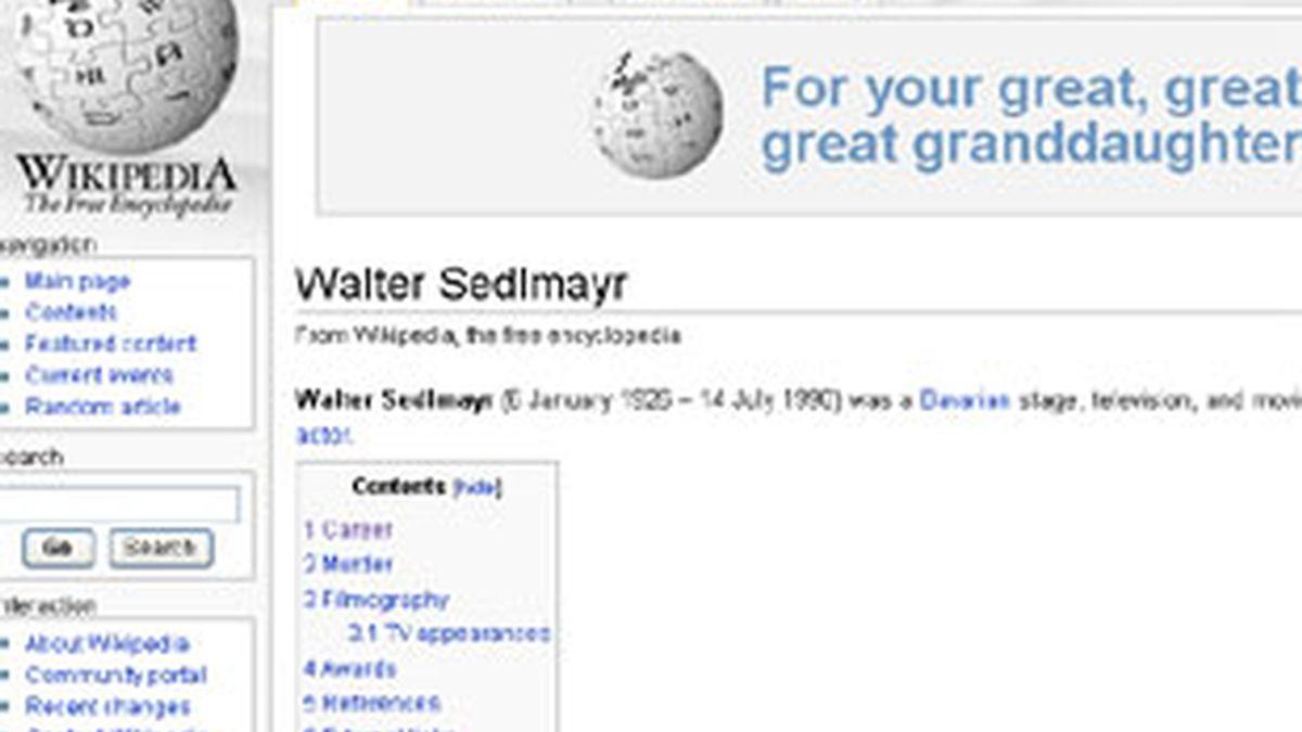 La página de la Wikipedia que alude al asesinato del actor alemán.