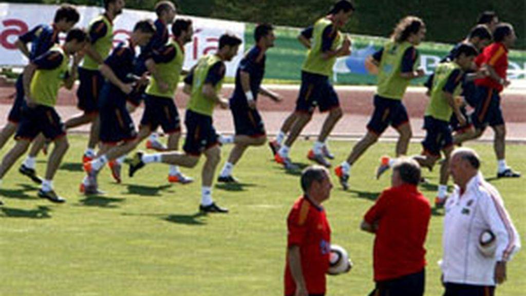 La selección durante un entrenamiento en Las Rozas. Foto: EFE