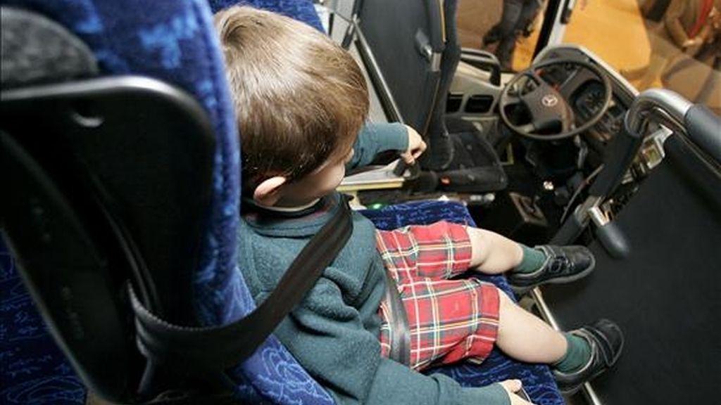 En la imagen, un niño sentado con un cinturón de seguridad en un autobús. EFE/Archivo