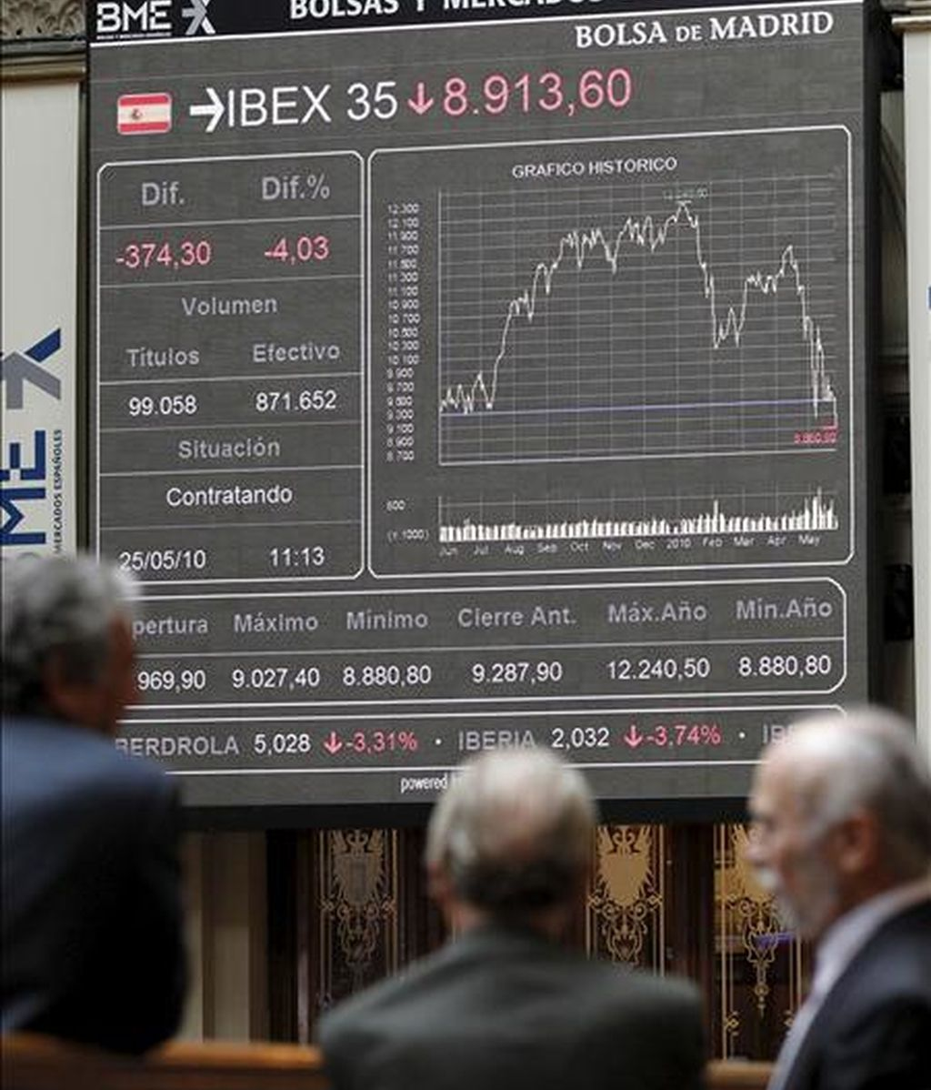Panel del Ibex-35 en la Bolsa de Madrid. EFE/Archivo