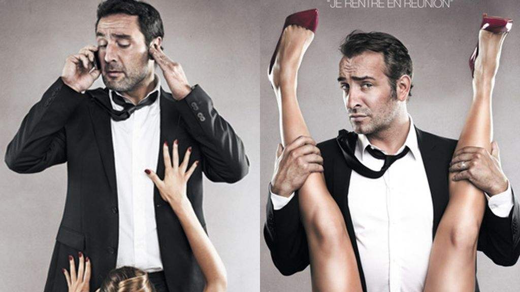 El cartel censurado, protagonizado por el actor Jean Dujardin, nominado al Oscar al Mejor Actor y de su colega Gilles Lellouche.