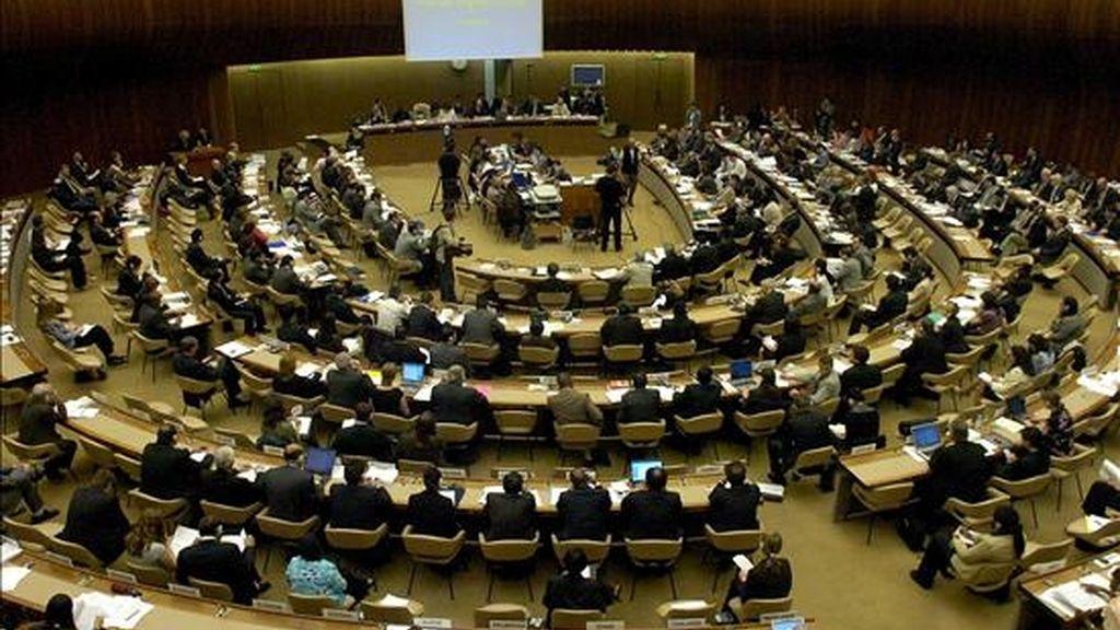 Vista general de una sesión de la reunión del Consejo de Derechos Humanos (CDH) de la ONU, en Ginebra, Suiza, órgano em el que EE.UU. aspira a alcanzar un puesto. EFE/Archivo