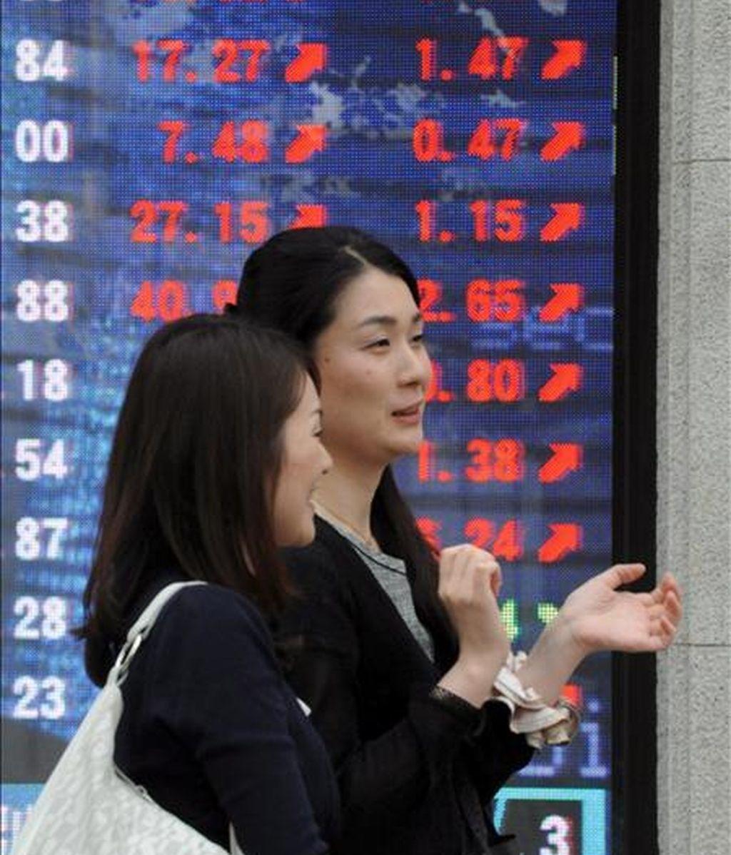 Dos jóvenes pasan una pantalla electrónico con el valor del índice Nikkei, en el centro de Tokio. EFE/Archivo