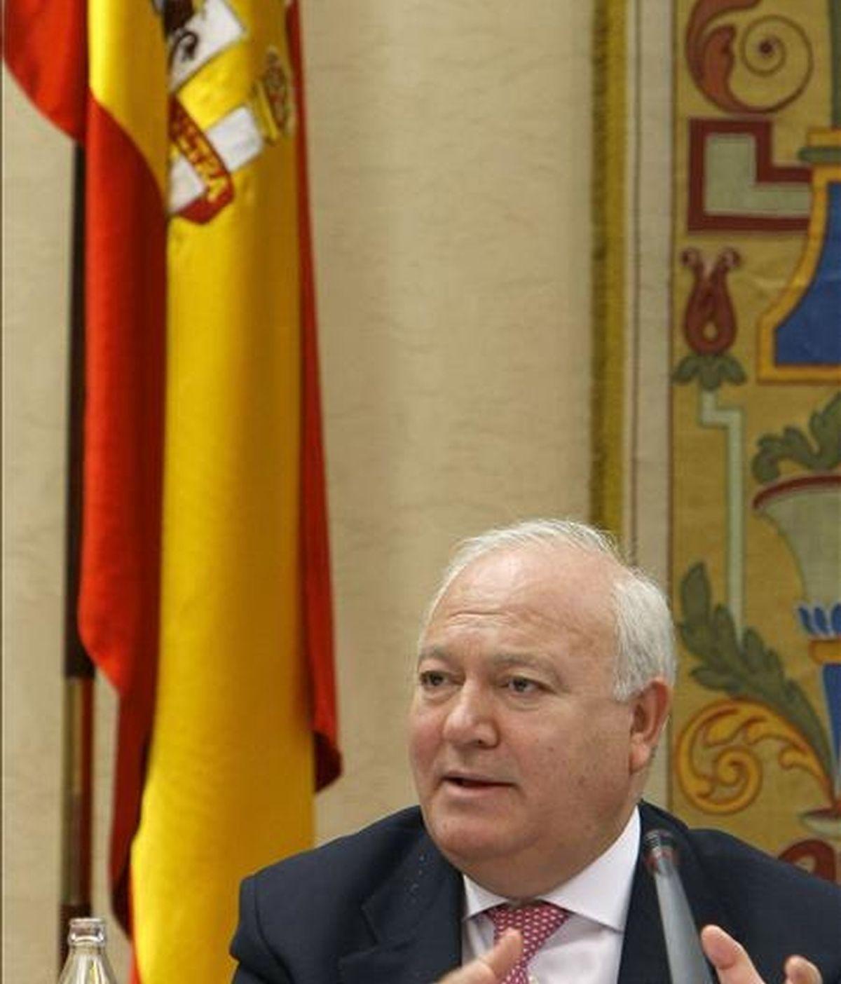 El ministro de Exteriores, Miguel Ángel Moratinos, durante una comparecencia en el Congreso. EFE/Archivo