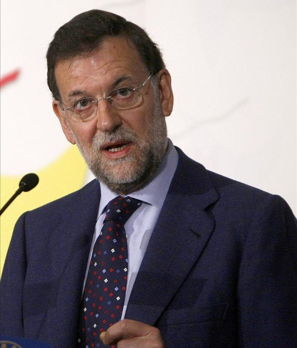 El presidente del PP, Mariano Rajoy en un desayuno informativo del Fórum Europa. EFE