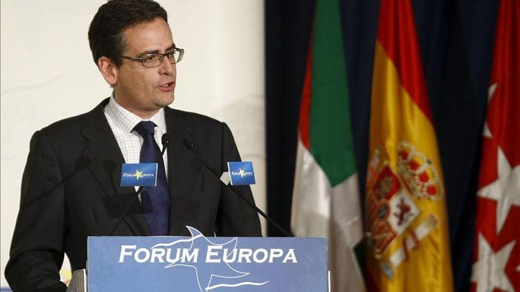 El presidente del PP vasco, Antonio Basagoiti, durante su intervención hoy, en Madrid, en el foro Nueva Economía. EFE