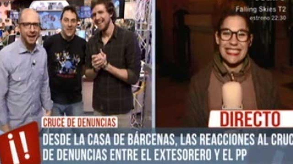 Itxaso, reportera de 'Te vas a enterar', caza en directo a Bárcenas en su casa