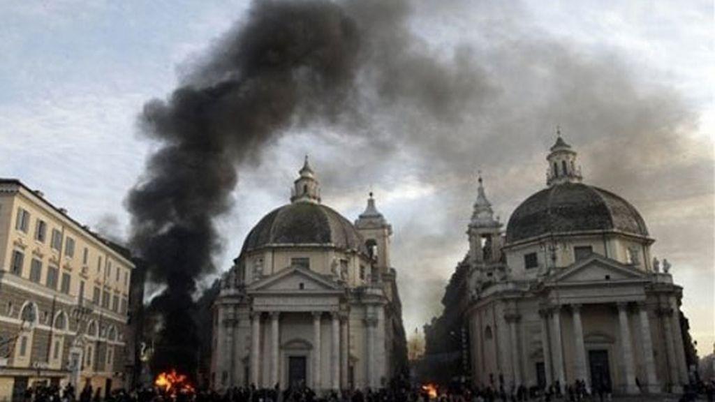 Barricadas en la Piazza del Popolo