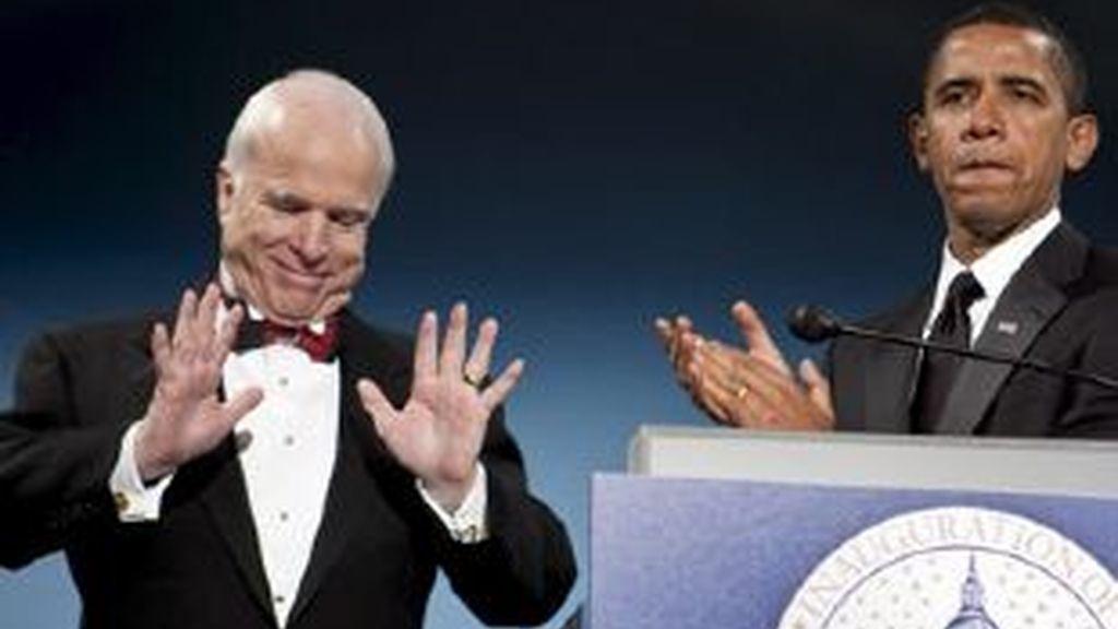 El presidente electo de Estados Unidos, Barack Obama ha cenado con el republicano John McCain. Video: Informativos Telecinco