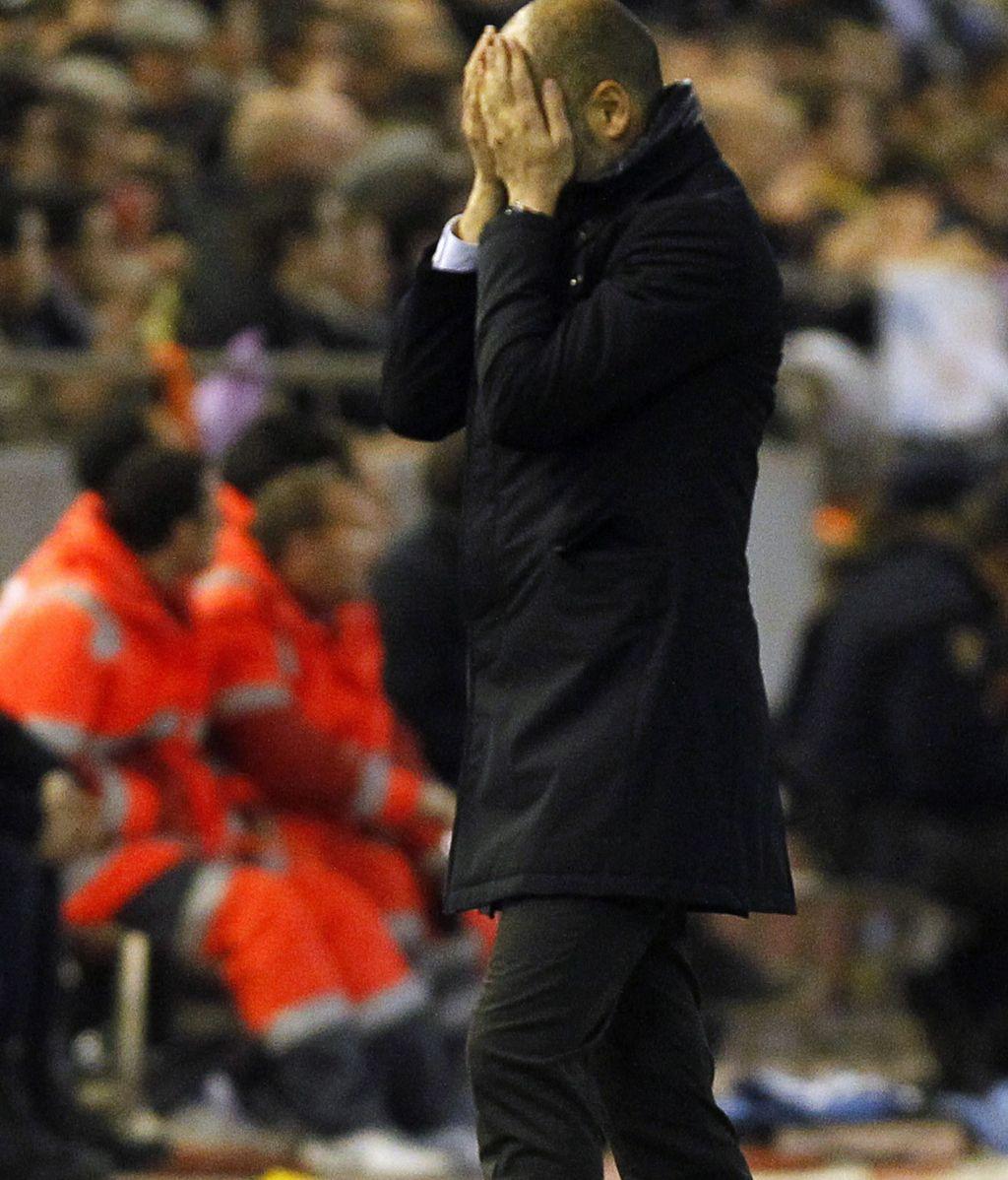 Pep Guardiola durante el encuetro de semifinales de la Copa del Rey en Mestalla