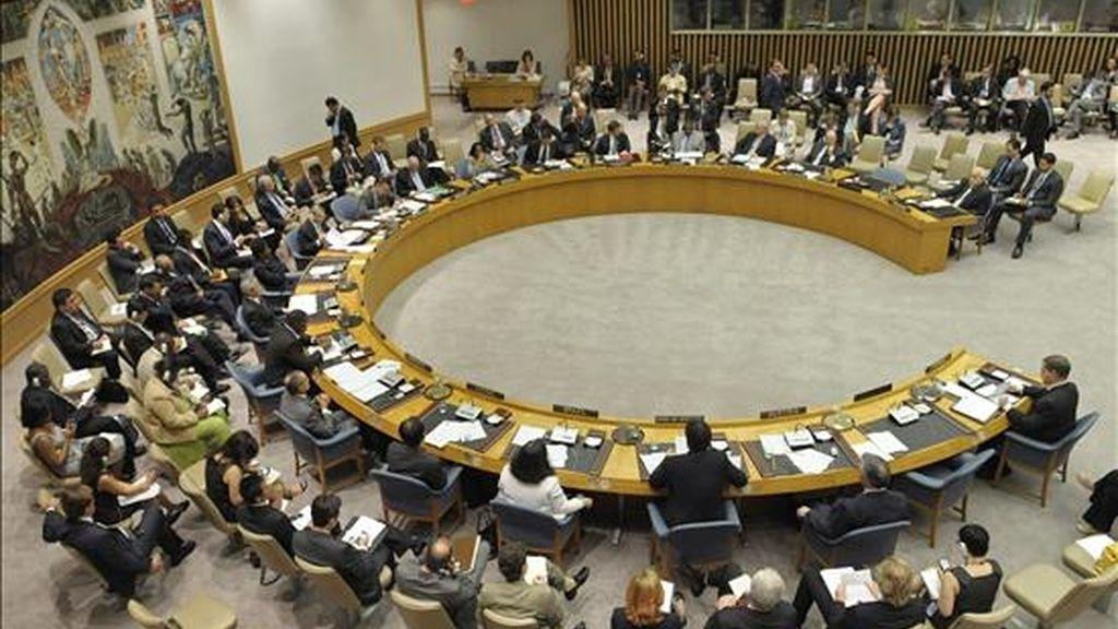 """Vista de una reunión de urgencia celebrada el pasado 31 de mayo, en la sede de Naciones Unidas en Nueva York, (Estados Unidos) para tratar el asalto del ejército israelí contra la llamada """"Flotilla de la Libertad"""", frente a las costas de Gaza. EFE/Archivo"""