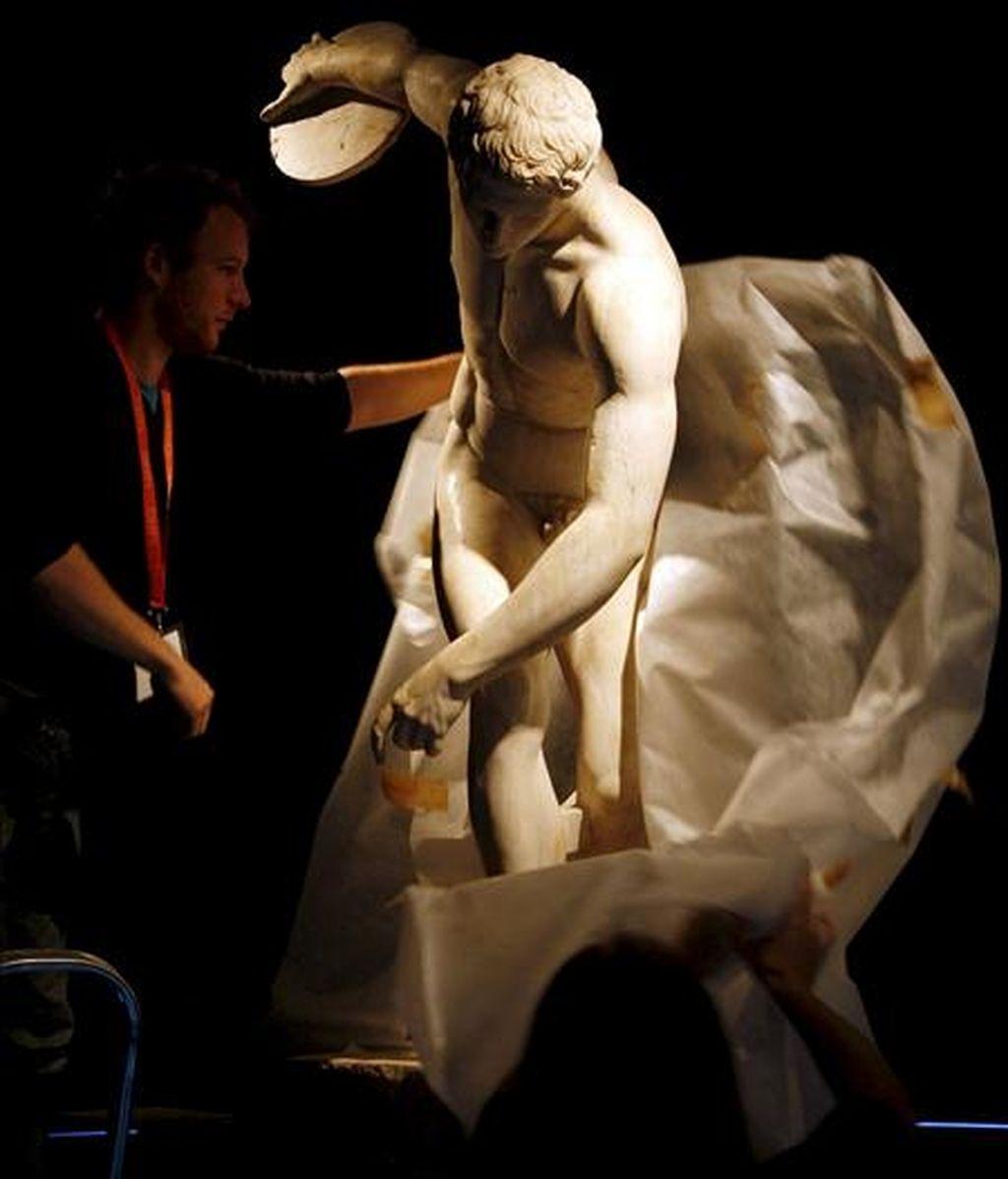 """""""El discóbolo"""", de Mirón, protagonista de la exposición """"La belleza del cuerpo. Arte y pensamiento en la Grecia Antigua"""", que se inauguró el pasado mes de abril en en el Museo Arqueológico de Alicante. EFE/Archivo"""