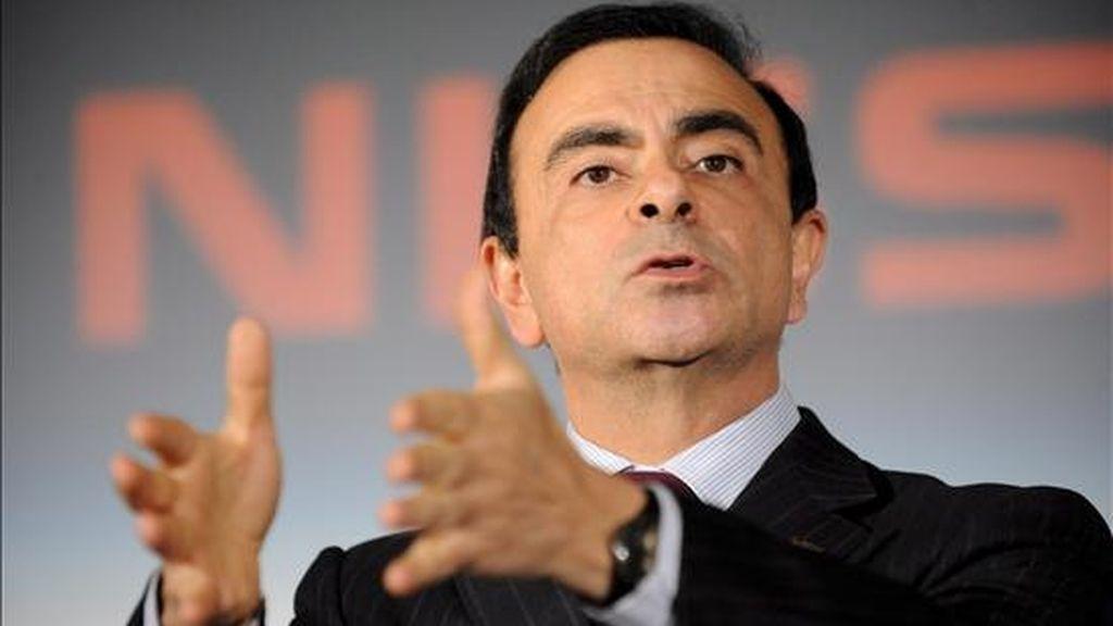 El director general de Nissan, Carlos Ghosn, da una conferencia de prensa para presentar los resultados financieros en la sede de la compañía en Tokio, Japón, el pasado mes de febrero. EFE/Archivo
