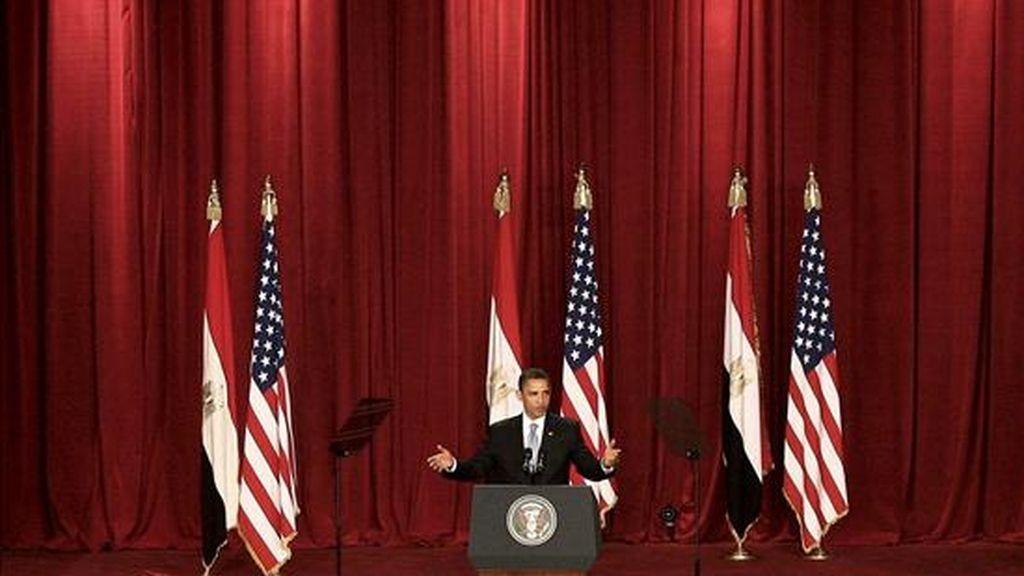 El presidente de EEUU, Barack Obama, durante el discurso ofrecido hoy en El Cairo. EFE