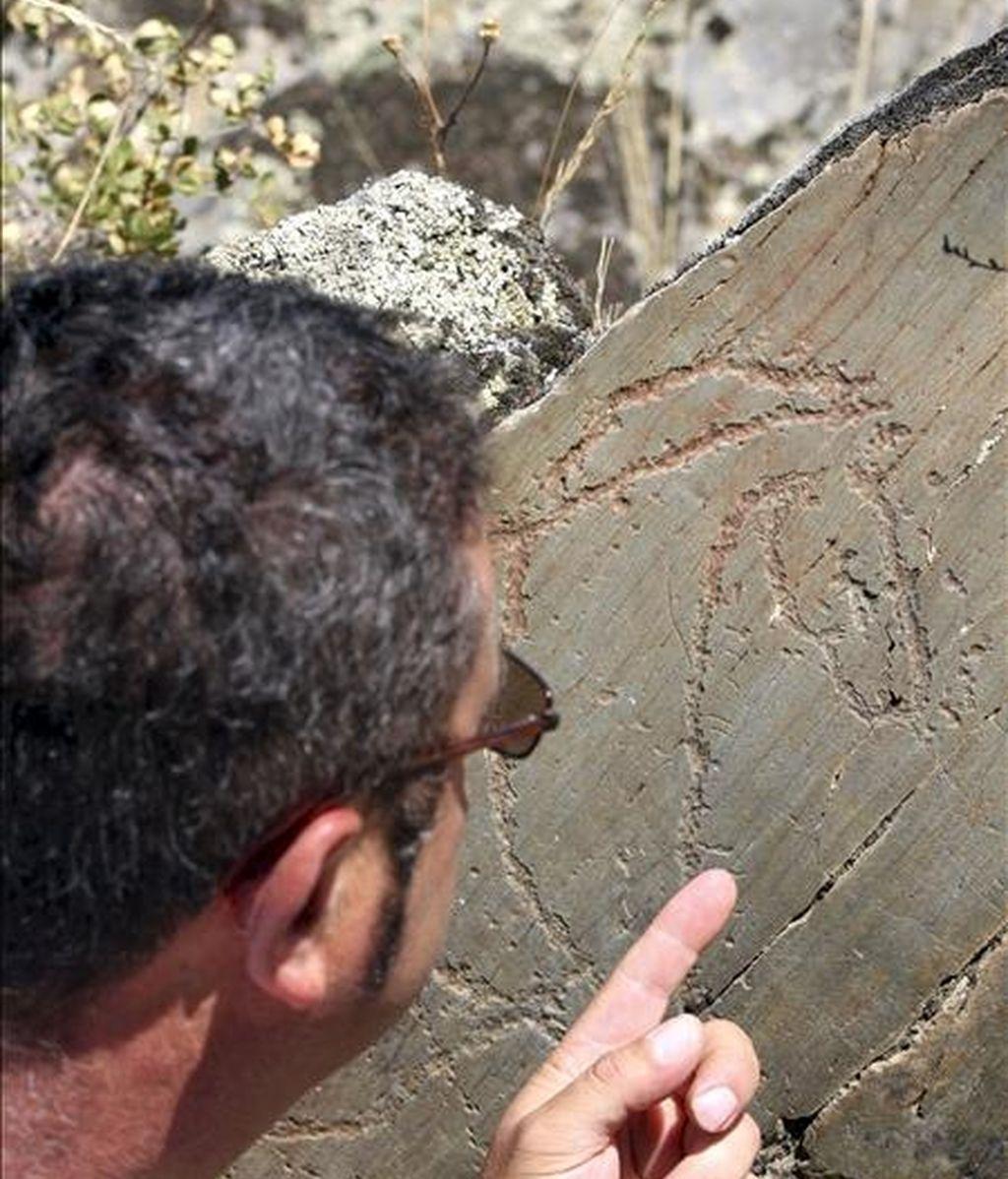 El alcalde de Villar de la Yegua, Tomás Méndez, señala uno de los 600 grabados de los yacimientos de Siega Verde, que ayer fueron declarados Patrimonio de la Humanidad. EFE/Carlos García