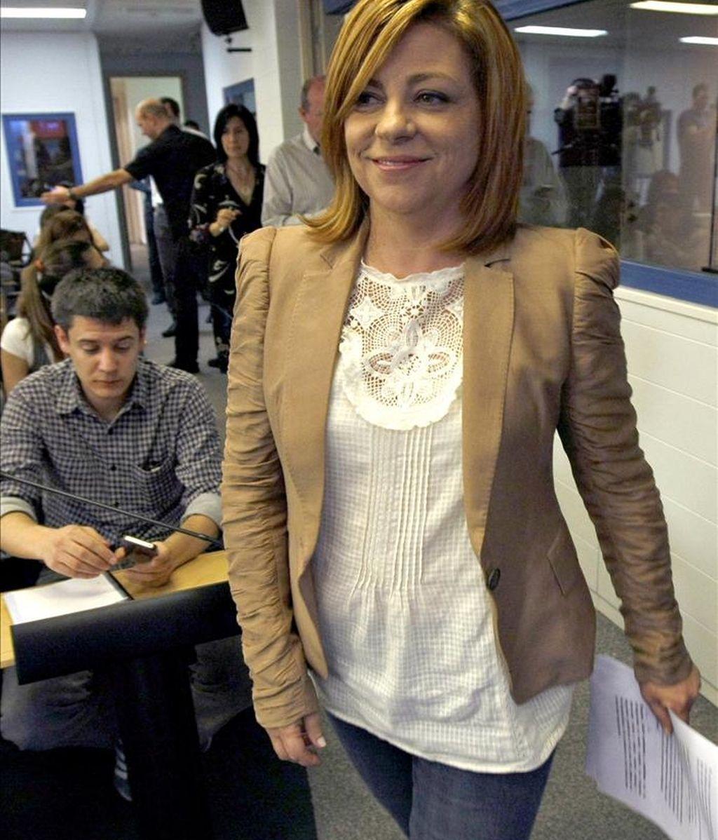 La portavoz del Comité Electoral del PSOE, Elena Valenciano, antes de la presentación de los detalles de la campaña electoral que va a protagonizar el partido ante los comicios municipales y autonómicos del 22 de mayo EFE