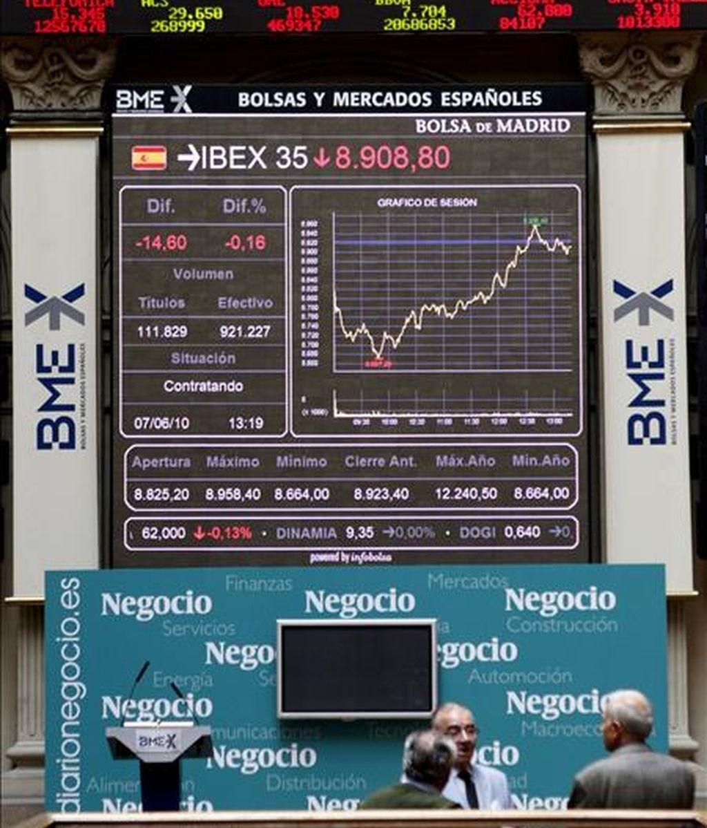 El panel de la Bolsa de Madrid. EFE/Archivo