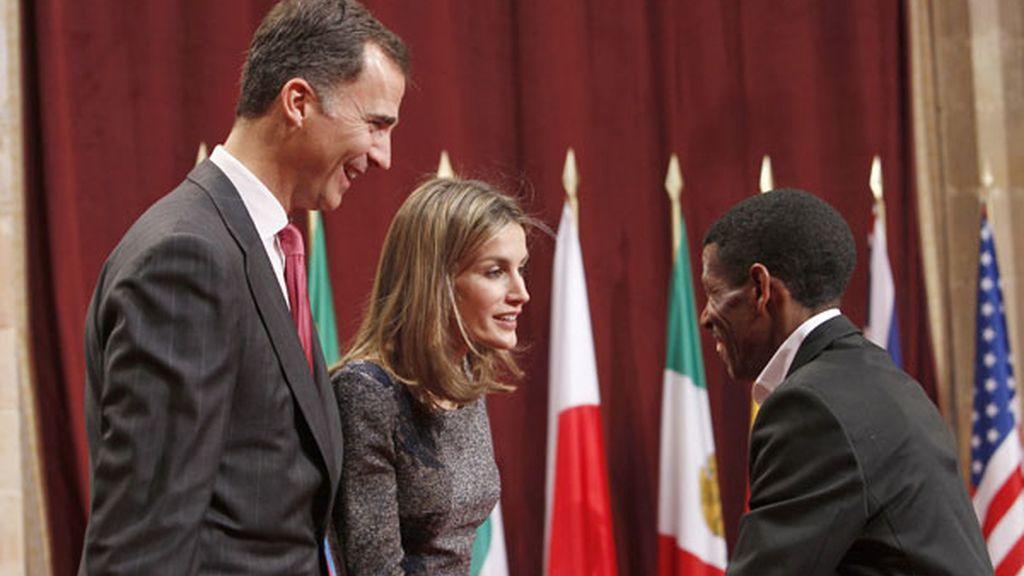 Los Príncipes con Halie Gebreselassie, premio de los Deportes
