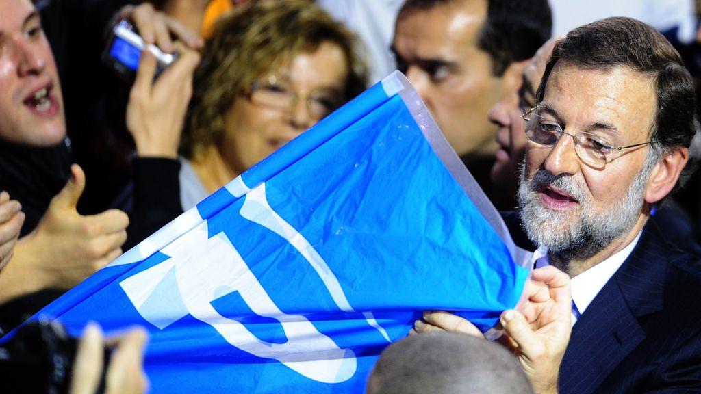 El candidato del PP a la Presidencia del Gobierno, Mariano Rajoy, durante un acto electoral